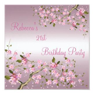 Cherry Bossom 21st Elegant Birthday Party Pink Card