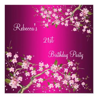 Cherry Bossom 21st Elegant Birthday Party Pink Personalized Invite