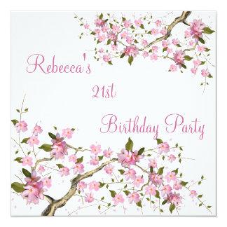 Cherry Bossom 21st Elegant Birthday Party White Card