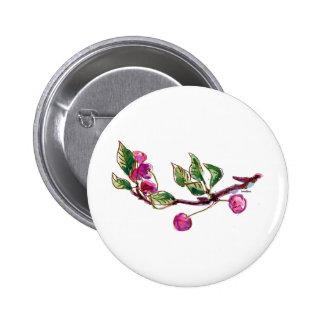 Cherry Branch Pinback Button
