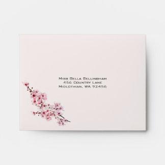 Cherry Branches Wedding RSVP Envelope