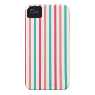 Cherry candy pink and minty blue stripes iPhone 4 case