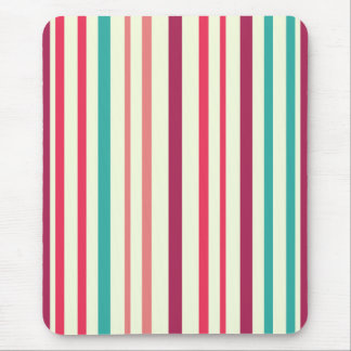 Cherry candy pink and minty blue stripes mouse pad