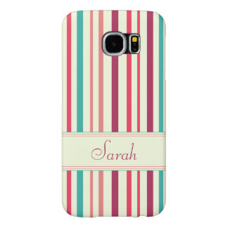Cherry candy pink and minty blue stripes samsung galaxy s6 case