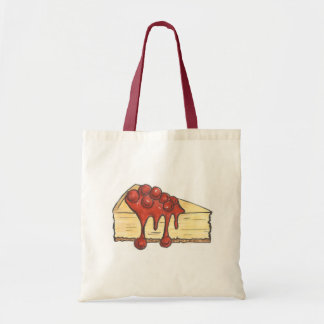 Cherry Cheesecake Cake Slice w/ Cherries Tote Bag
