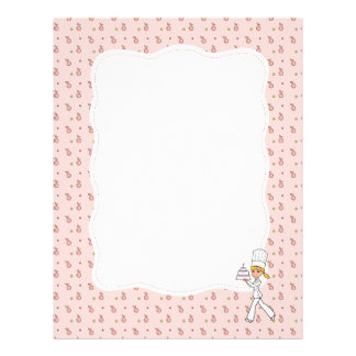 Cherry Chef Art Unlined Recipe Page Personalized Letterhead