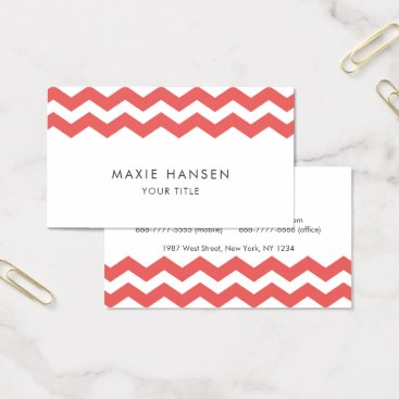 Professional Business Cherry Chevron Pattern Modern Business Card