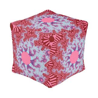 Cherry Cola Sunburst Cube Pouf