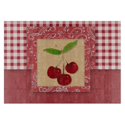 Cherry Country Glass Cutting Board