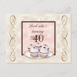 Cherry Cupcake 40th Birthday Party Invitation postcard