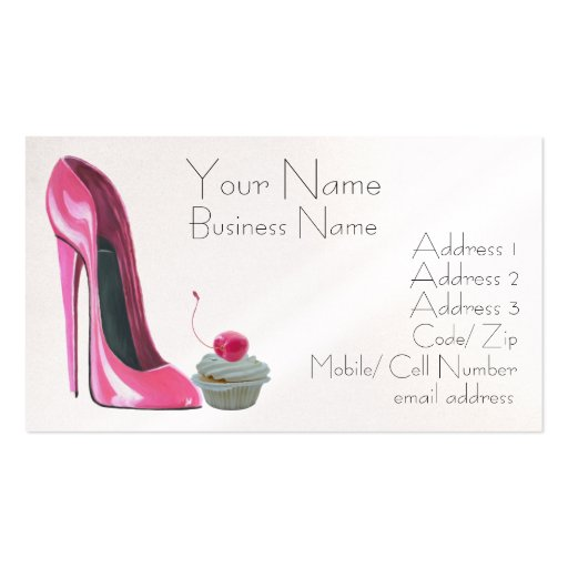 Cherry Cupcake and Pink Stiletto Shoe Business Car Business Card Template