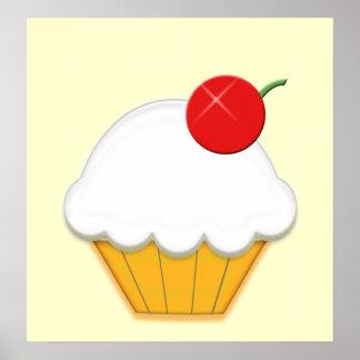 Cherry Cupcake Art Poster