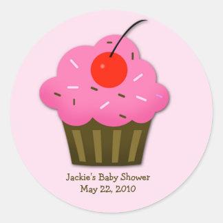 Cherry Cupcake Baby Shower Favor Sticker