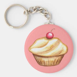 Cherry Cupcake Bakery Art Keychain