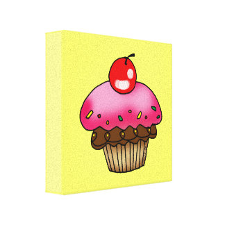 cherry cupcake gallery wrapped canvas