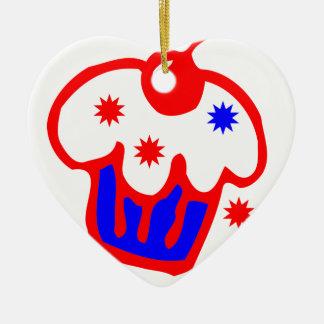 cherry cupcake ceramic ornament