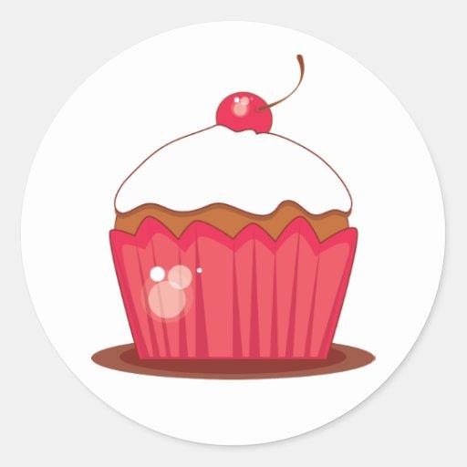 Cherry Cupcake Coordinating Envelope Seals Classic Round Sticker