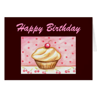 Cherry Cupcake Happy Birthday Card
