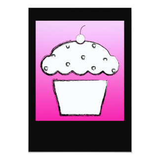 cherry cupcake 5x7 paper invitation card