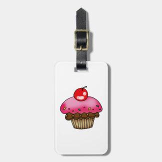 cherry cupcake luggage tag