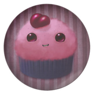 Cherry Cupcake Melamine Plate