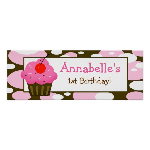 Cherry Cupcake Personalized Birthday Banner Poster