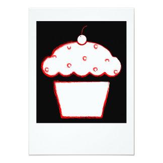 cherry cupcake polaroid 5x7 paper invitation card
