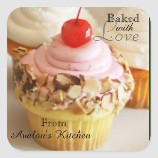 Cherry Cupcake Square Baking Stickers