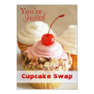 "Cherry Cupcake Swap Holiday Card 5"" X 7"" Invitation Card"