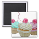 Cherry cupcakes 2 inch square magnet