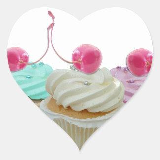 Cherry cupcakes heart sticker
