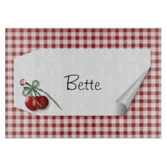 Cherry Curl Tag Glass Cutting Board