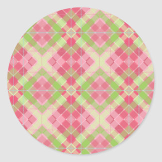 Cherry Diamond Plaid Classic Round Sticker