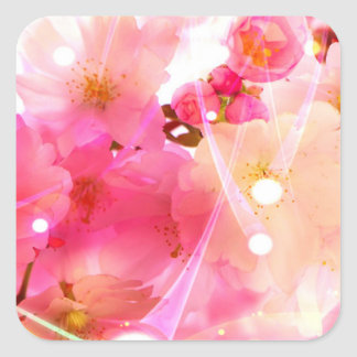Cherry Flower Square Stickers
