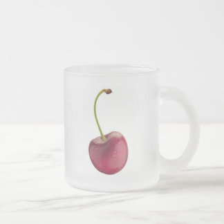 cherry frosted glass coffee mug