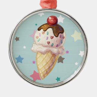 Cherry Fudge Icecream Metal Ornament