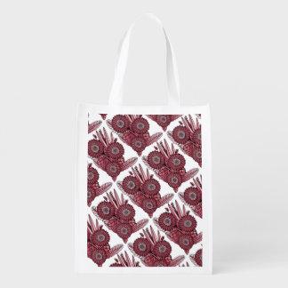 Cherry Gerbera Daisy Flower Bouquet Grocery Bag