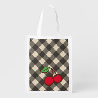 Cherry Gingham Reusable Grocery Bag
