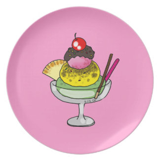 cherry ice cream melamine plate