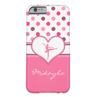 Cherry Inspired Pink Polka-Dots Ballet Dancer Barely There iPhone 6 Case