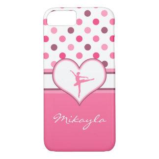 Cherry Inspired Pink Polka-Dots Ballet Dancer iPhone 7 Case