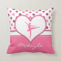 Cherry Inspired Pink Polka-Dots Ballet Dancer Throw Pillow