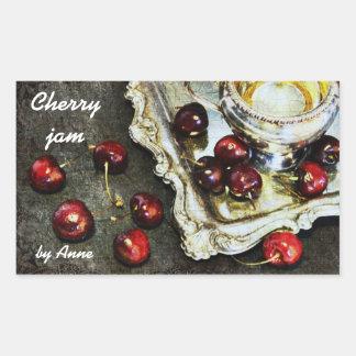 cherry jam - cherries on silver tray rectangular sticker