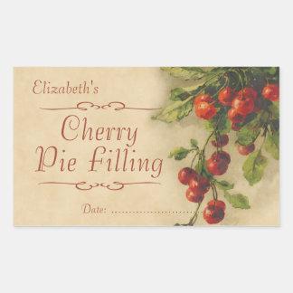 Cherry jam or canning rectangular sticker