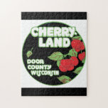 """Cherry Land Wisconsin Vintage Travel Poster Jigsaw Puzzle<br><div class=""""desc"""">This product features Cherry Land Wisconsin vintage travel poster artwork.  Like this design,  but you want to tweak it? Just click on &quot;Customize&quot; to add text or adjust things to your liking.</div>"""