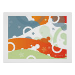 Cherry Landscape - Retro-Modern Abstract Poster