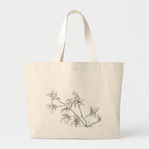 cherry leaves canvas bag