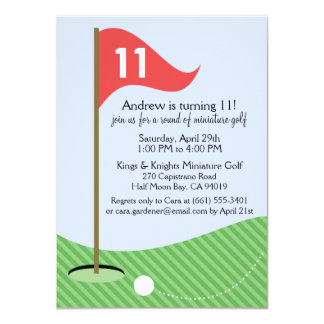 Cherry Let's Par-Tee Miniature Golf Birthday Party Card