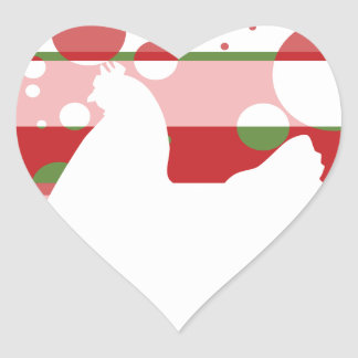 Cherry-Lime Pop Art Chicken Heart Sticker