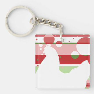 Cherry-Lime Pop Art Chicken Single-Sided Square Acrylic Keychain